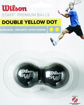Squash Balls 2 Blister Pack, Double Yellow Dot